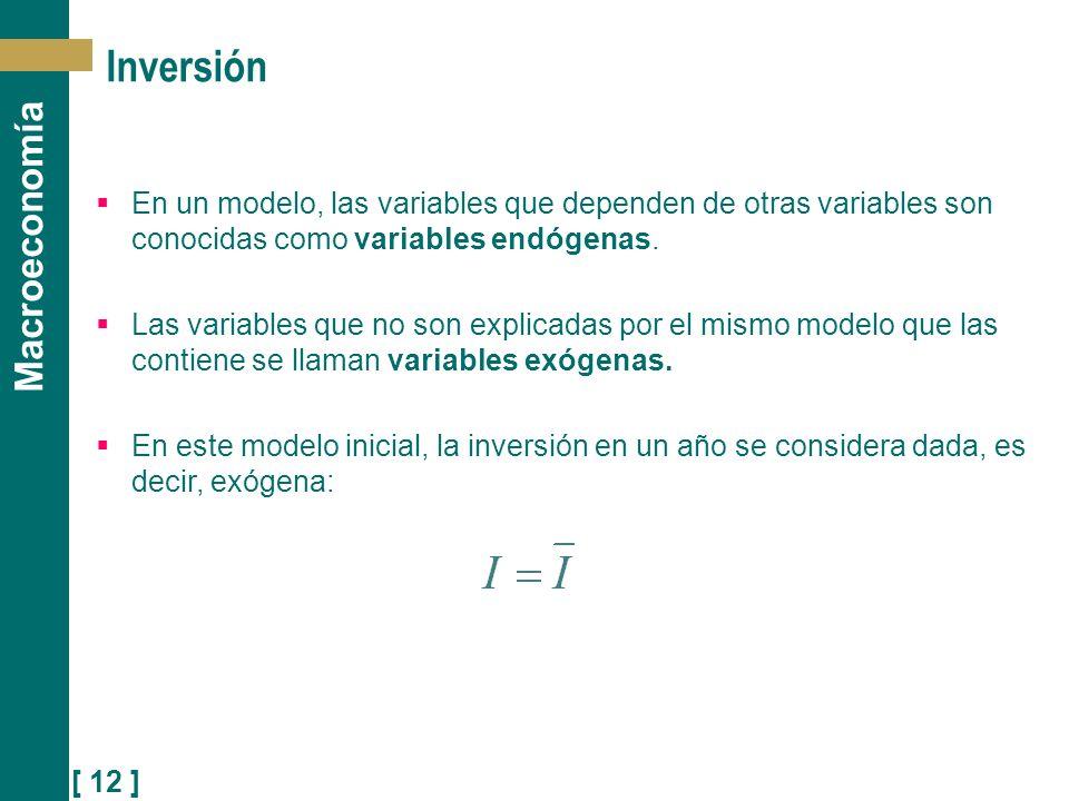 [ 12 ] Macroeconomía Inversión En un modelo, las variables que dependen de otras variables son conocidas como variables endógenas. Las variables que n