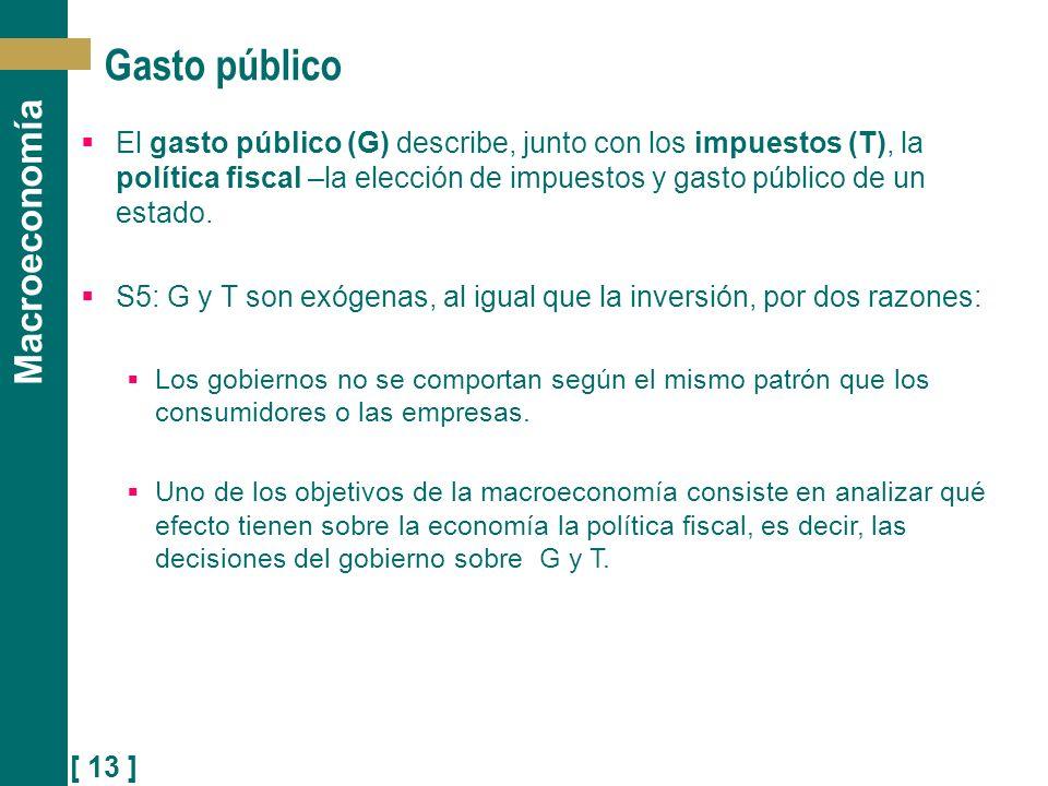 [ 13 ] Macroeconomía Gasto público El gasto público (G) describe, junto con los impuestos (T), la política fiscal –la elección de impuestos y gasto pú