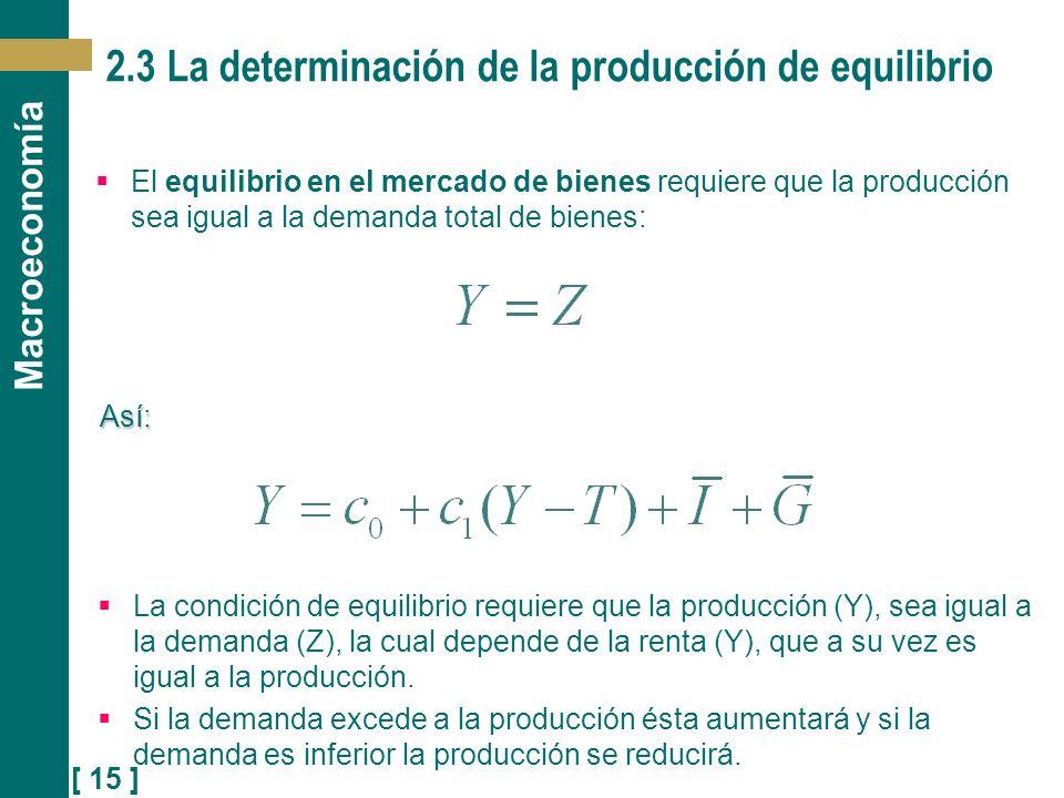 [ 15 ] Macroeconomía 2.3 La determinación de la producción de equilibrio El equilibrio en el mercado de bienes requiere que la producción sea igual a