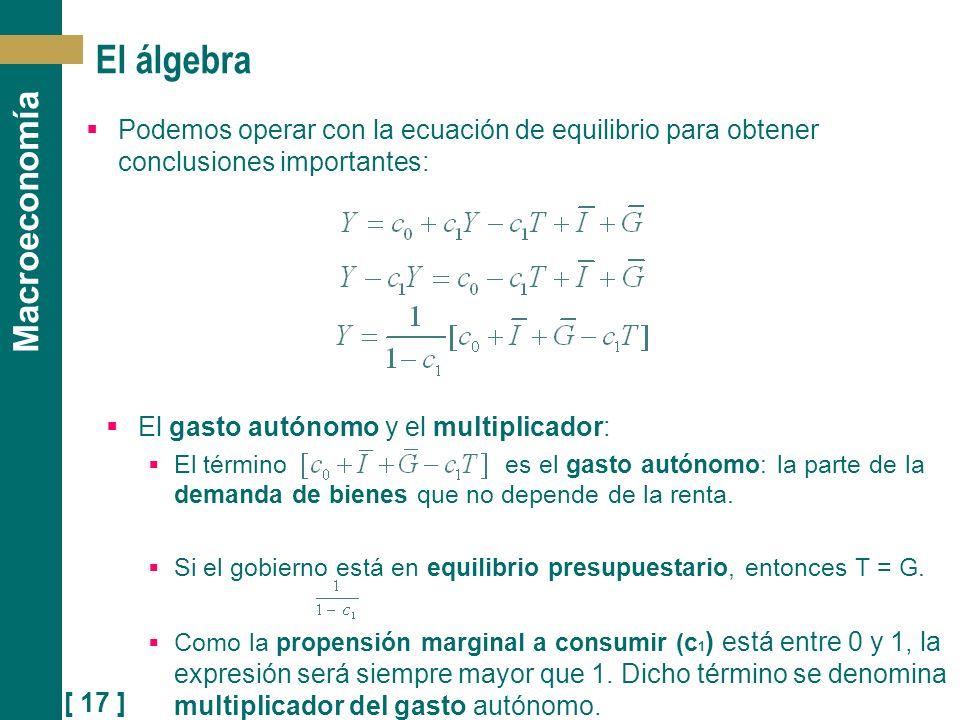 [ 17 ] Macroeconomía Podemos operar con la ecuación de equilibrio para obtener conclusiones importantes: El gasto autónomo y el multiplicador: El térm