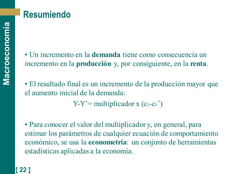[ 22 ] Macroeconomía Resumiendo Un incremento en la demanda tiene como consecuencia un incremento en la producción y, por consiguiente, en la renta. E