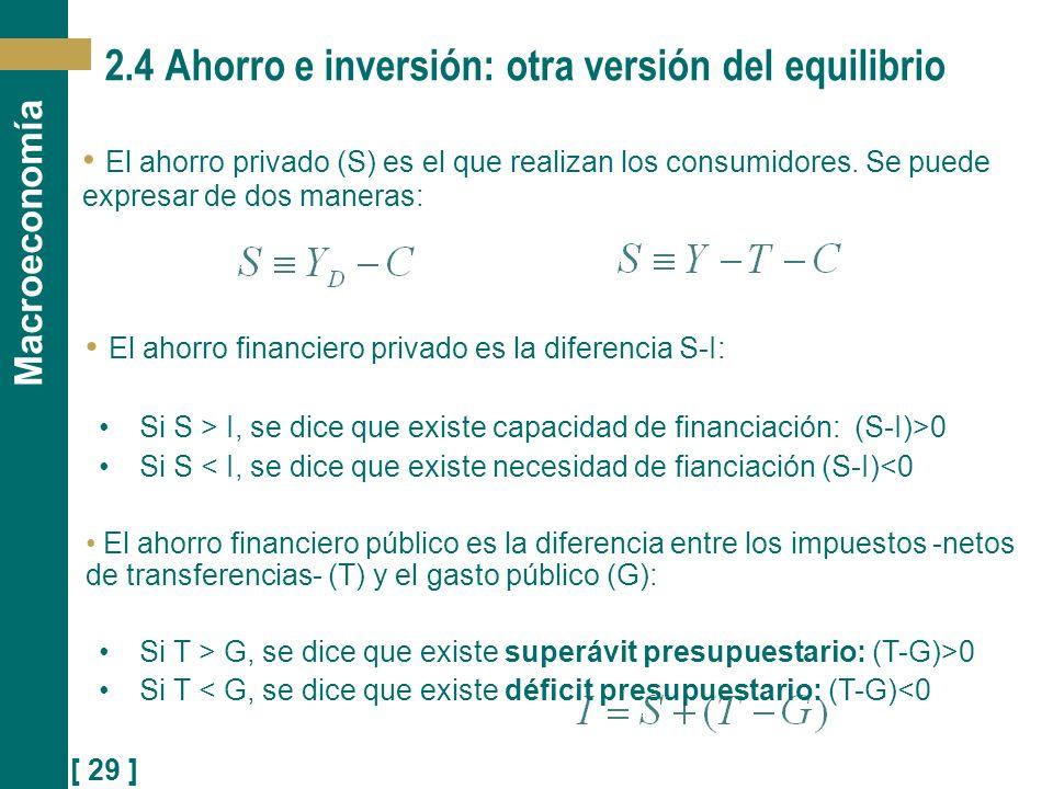 [ 29 ] Macroeconomía 2.4 Ahorro e inversión: otra versión del equilibrio El ahorro privado (S) es el que realizan los consumidores. Se puede expresar