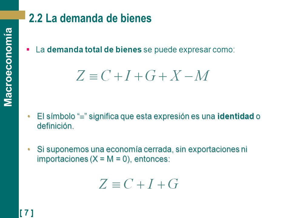 [ 7 ] Macroeconomía 2.2 La demanda de bienes La demanda total de bienes se puede expresar como: El símbolo significa que esta expresión es una identid