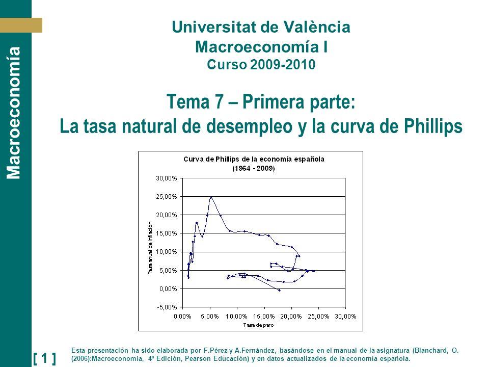 [ 22 ] Macroeconomía Si observamos el caso de España, la tasa natural de desempleo (la que hace que la inflación se mantenga constante) es igual a 0,6%, lo cual no parece un valor razonable.