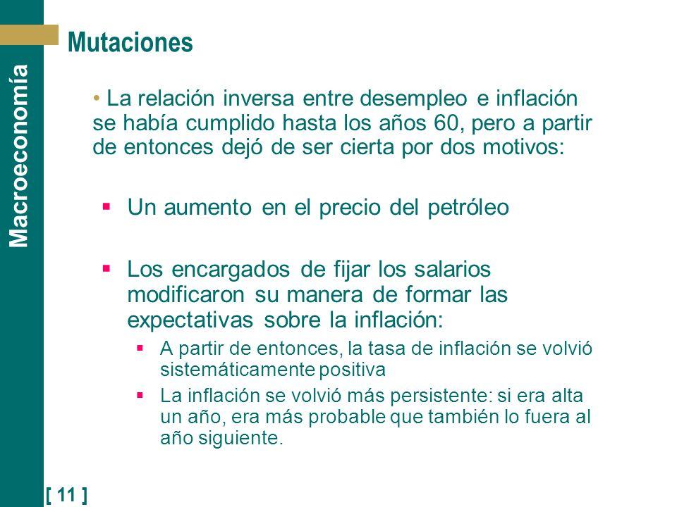 [ 11 ] Macroeconomía Mutaciones La relación inversa entre desempleo e inflación se había cumplido hasta los años 60, pero a partir de entonces dejó de
