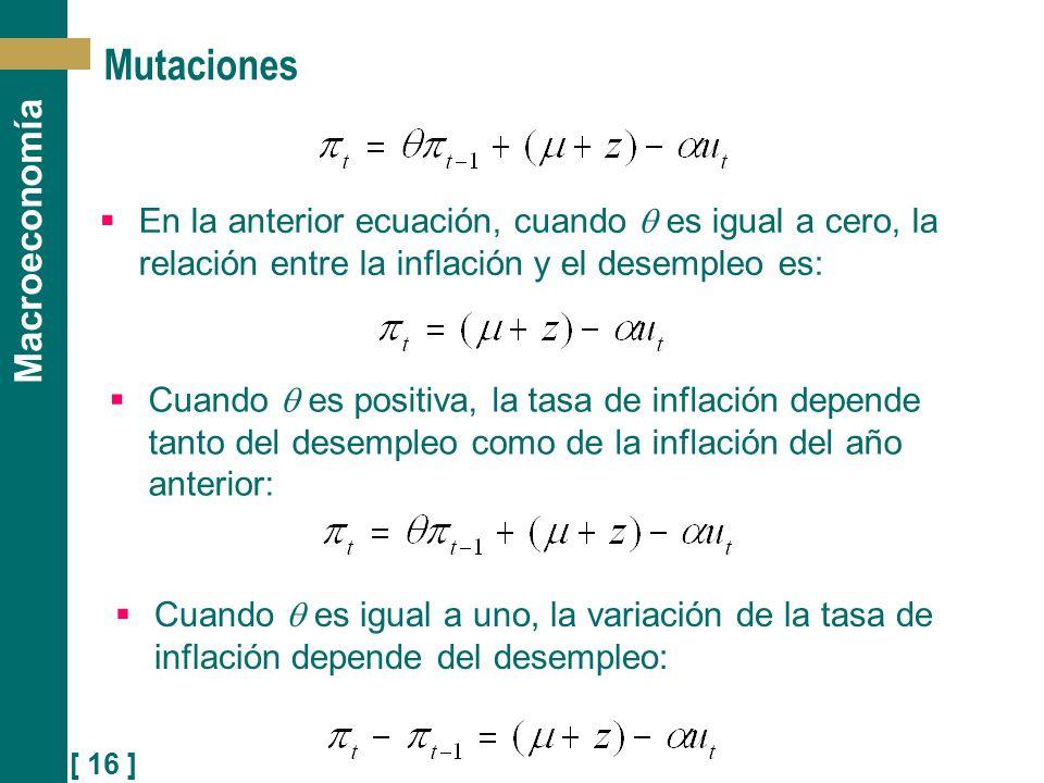 [ 16 ] Macroeconomía Mutaciones En la anterior ecuación, cuando es igual a cero, la relación entre la inflación y el desempleo es: Cuando es positiva,