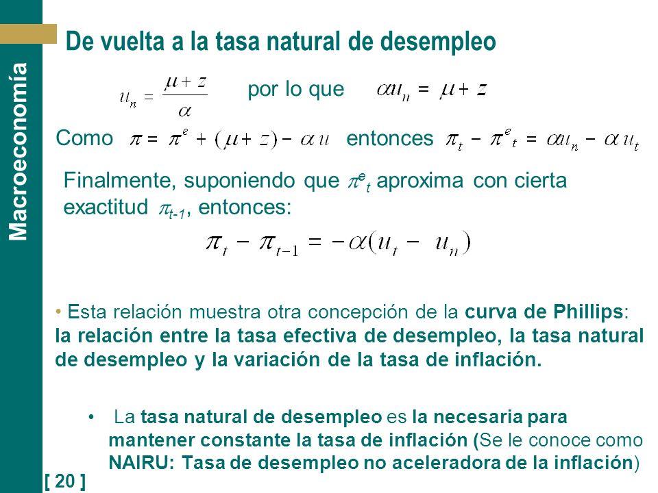 [ 20 ] Macroeconomía De vuelta a la tasa natural de desempleo Esta relación muestra otra concepción de la curva de Phillips: la relación entre la tasa
