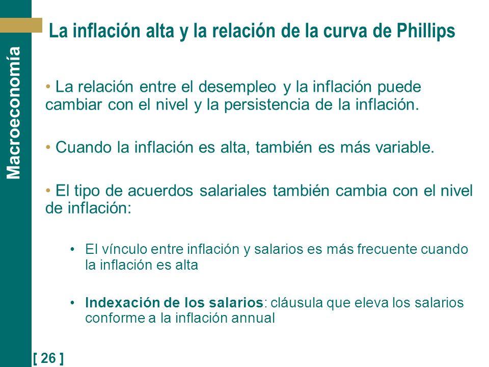 [ 26 ] Macroeconomía La inflación alta y la relación de la curva de Phillips La relación entre el desempleo y la inflación puede cambiar con el nivel