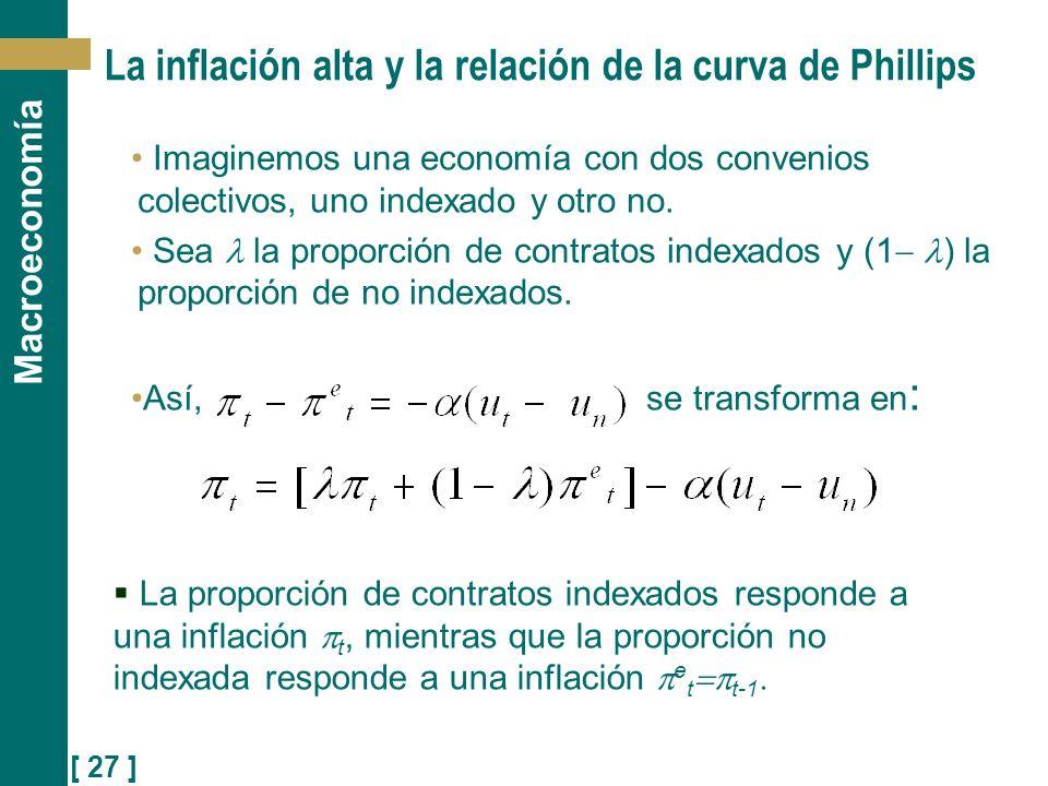 [ 27 ] Macroeconomía Imaginemos una economía con dos convenios colectivos, uno indexado y otro no. Sea la proporción de contratos indexados y (1 ) la