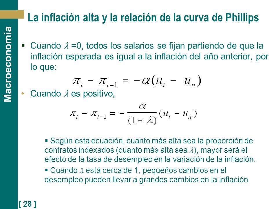 [ 28 ] Macroeconomía La inflación alta y la relación de la curva de Phillips Cuando =0, todos los salarios se fijan partiendo de que la inflación espe