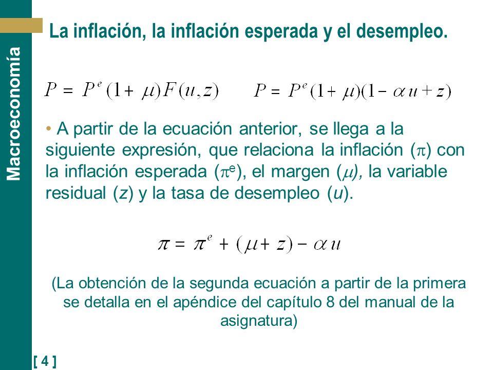 [ 4 ] Macroeconomía La inflación, la inflación esperada y el desempleo. A partir de la ecuación anterior, se llega a la siguiente expresión, que relac