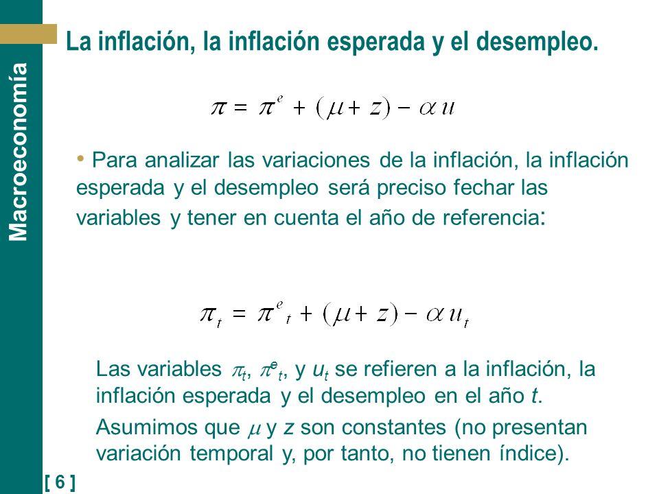 [ 7 ] Macroeconomía Si suponemos que la inflación esperada es igual a cero, e t = 0, entonces: Esta es la relación negativa entre el desempleo y la inflación que Phillips encontró en el caso del Reino Unido (finales del S.XIX y principios del S.XX).