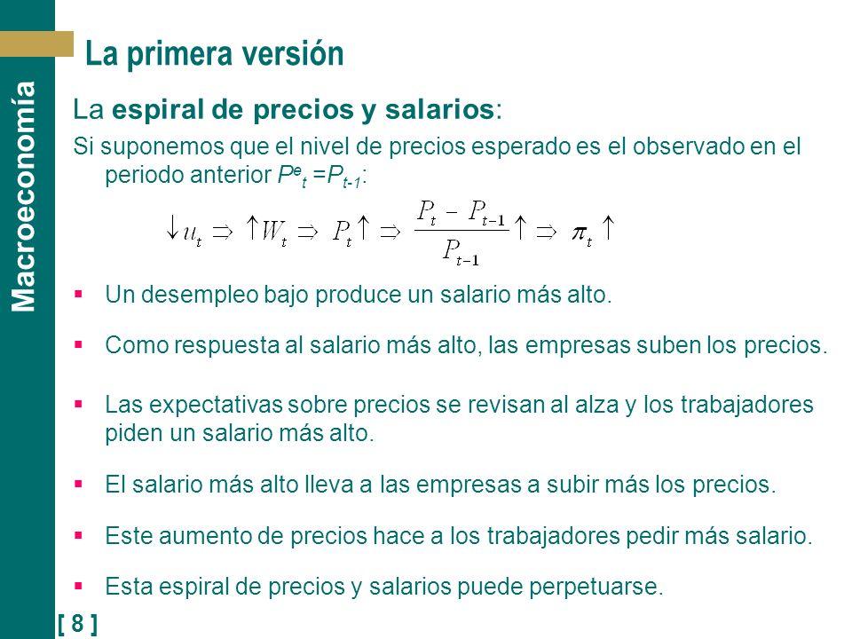 [ 8 ] Macroeconomía La primera versión La espiral de precios y salarios: Si suponemos que el nivel de precios esperado es el observado en el periodo a