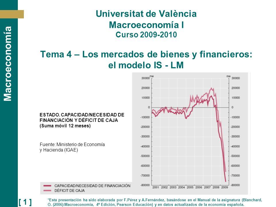 [ 1 ] Macroeconomía Universitat de València Macroeconomía I Curso 2009-2010 Tema 4 – Los mercados de bienes y financieros: el modelo IS - LM *Esta pre