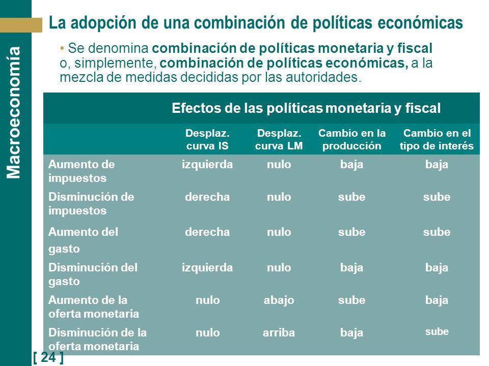 [ 24 ] Macroeconomía La adopción de una combinación de políticas económicas Se denomina combinación de políticas monetaria y fiscal o, simplemente, co