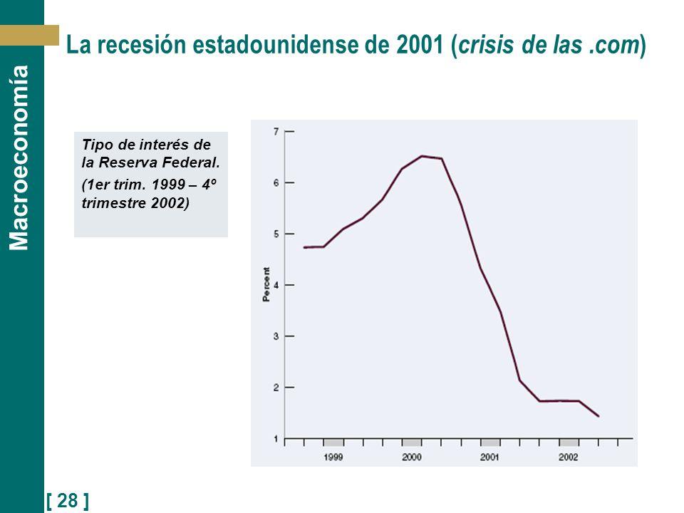 [ 28 ] Macroeconomía Tipo de interés de la Reserva Federal. (1er trim. 1999 – 4º trimestre 2002) La recesión estadounidense de 2001 ( crisis de las.co
