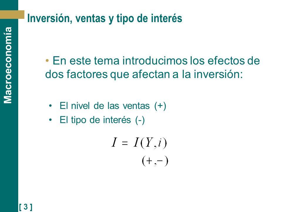 [ 3 ] Macroeconomía Inversión, ventas y tipo de interés En este tema introducimos los efectos de dos factores que afectan a la inversión: El nivel de
