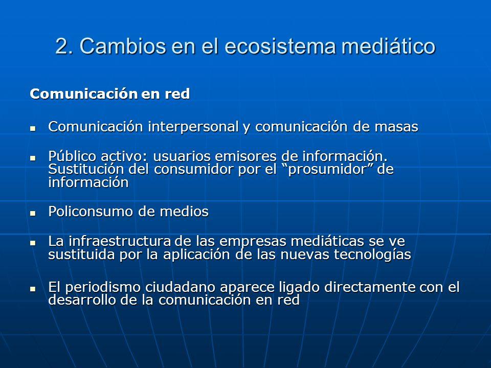 2. Cambios en el ecosistema mediático Comunicación en red Comunicación interpersonal y comunicación de masas Comunicación interpersonal y comunicación