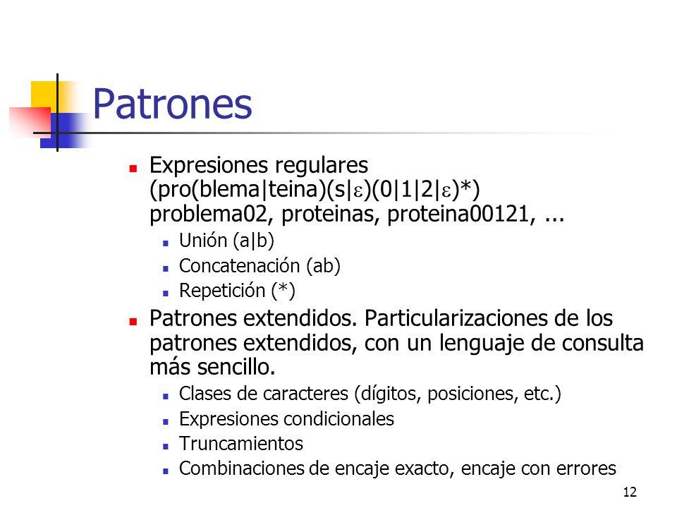 12 Patrones Expresiones regulares (pro(blema|teina)(s| )(0|1|2| )*) problema02, proteinas, proteina00121,... Unión (a|b) Concatenación (ab) Repetición