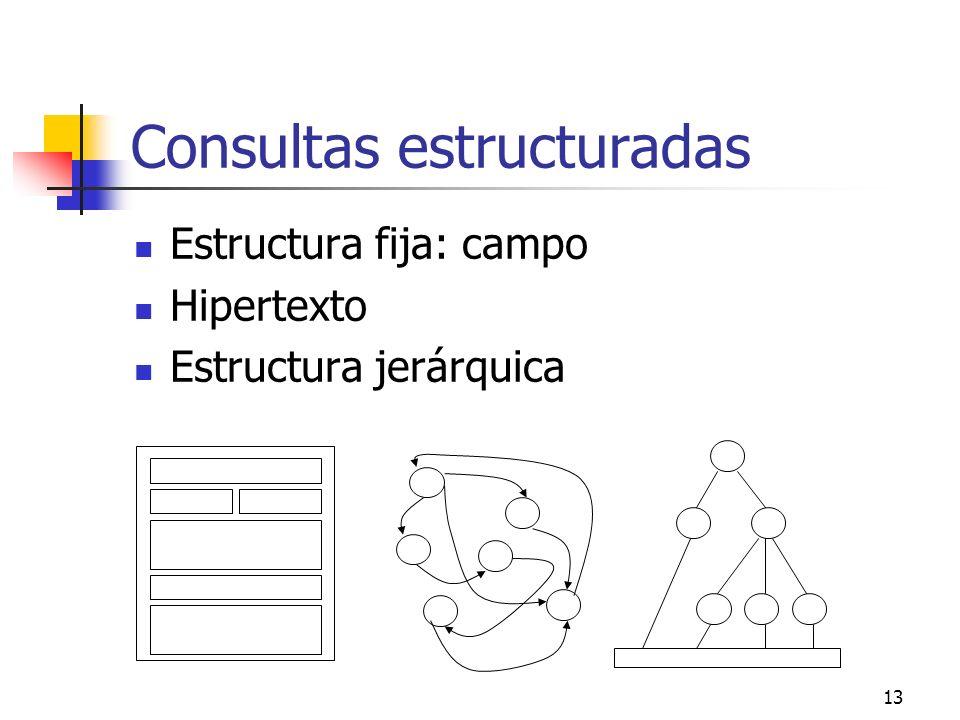 13 Consultas estructuradas Estructura fija: campo Hipertexto Estructura jerárquica