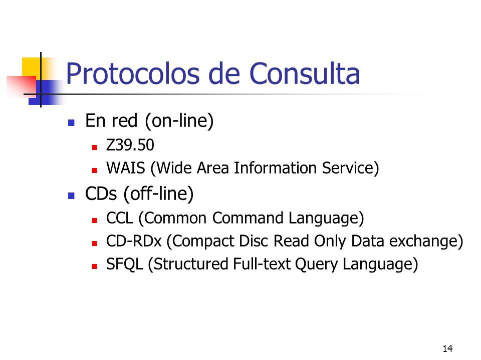 14 Protocolos de Consulta En red (on-line) Z39.50 WAIS (Wide Area Information Service) CDs (off-line) CCL (Common Command Language) CD-RDx (Compact Di