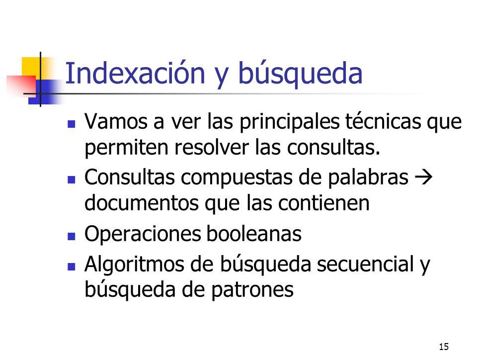 15 Indexación y búsqueda Vamos a ver las principales técnicas que permiten resolver las consultas. Consultas compuestas de palabras documentos que las