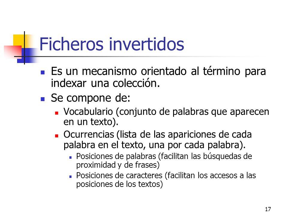 17 Ficheros invertidos Es un mecanismo orientado al término para indexar una colección. Se compone de: Vocabulario (conjunto de palabras que aparecen