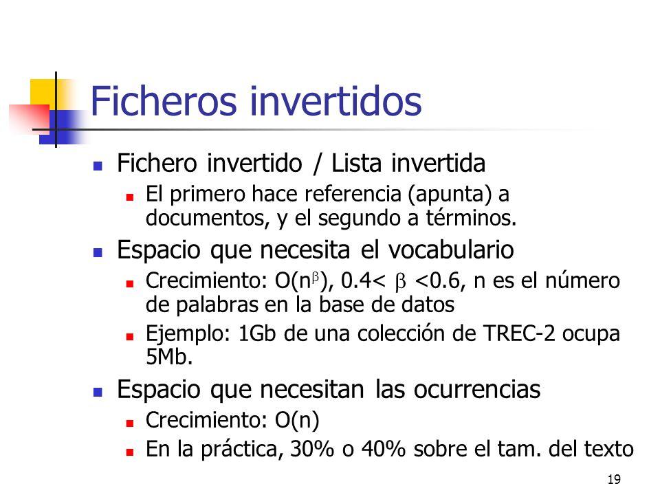 19 Ficheros invertidos Fichero invertido / Lista invertida El primero hace referencia (apunta) a documentos, y el segundo a términos. Espacio que nece