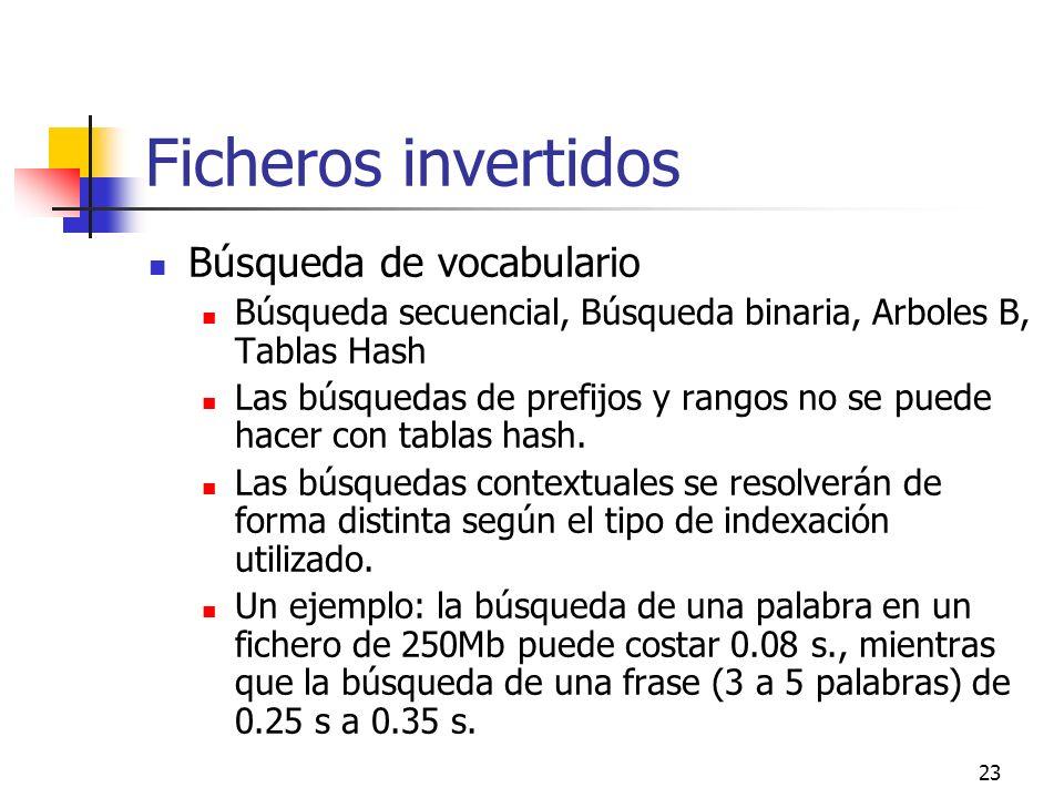 23 Ficheros invertidos Búsqueda de vocabulario Búsqueda secuencial, Búsqueda binaria, Arboles B, Tablas Hash Las búsquedas de prefijos y rangos no se