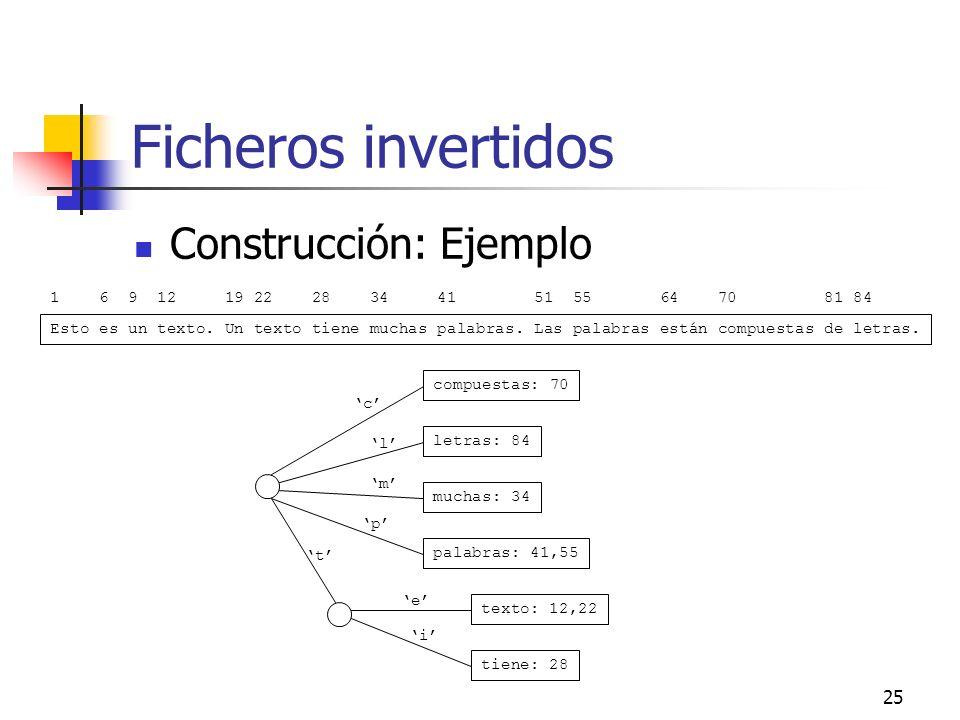 25 Ficheros invertidos Construcción: Ejemplo Esto es un texto. Un texto tiene muchas palabras. Las palabras están compuestas de letras. 1 6 9 12 19 22