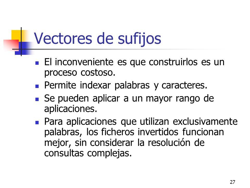 27 Vectores de sufijos El inconveniente es que construirlos es un proceso costoso. Permite indexar palabras y caracteres. Se pueden aplicar a un mayor