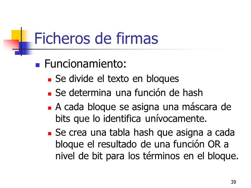 39 Ficheros de firmas Funcionamiento: Se divide el texto en bloques Se determina una función de hash A cada bloque se asigna una máscara de bits que l