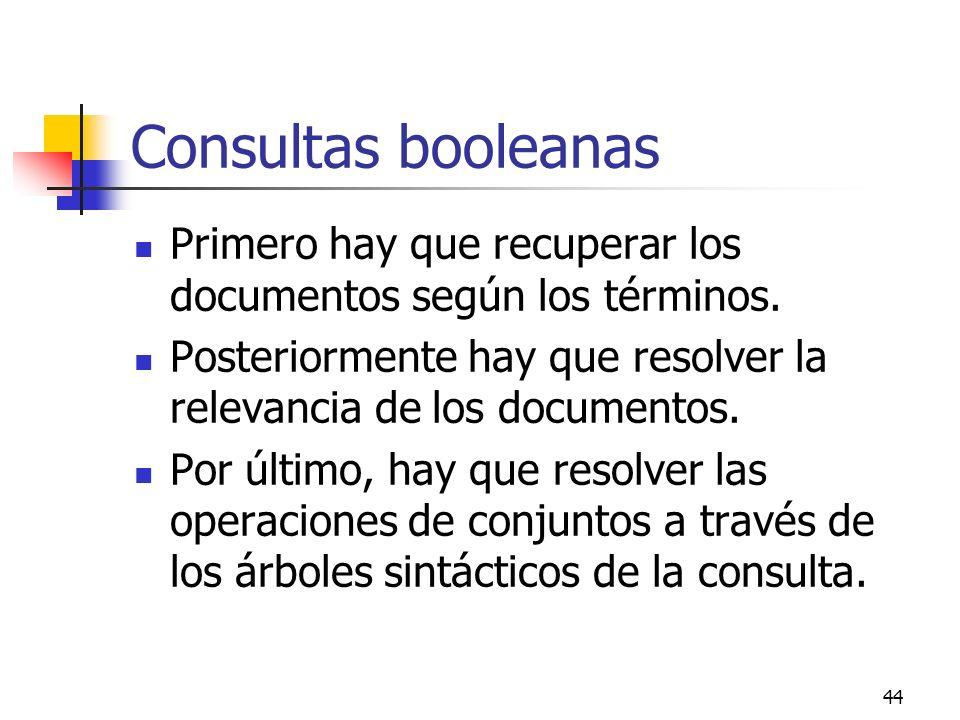 44 Consultas booleanas Primero hay que recuperar los documentos según los términos. Posteriormente hay que resolver la relevancia de los documentos. P