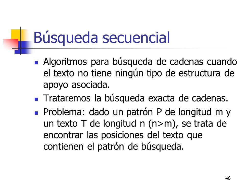 46 Búsqueda secuencial Algoritmos para búsqueda de cadenas cuando el texto no tiene ningún tipo de estructura de apoyo asociada. Trataremos la búsqued