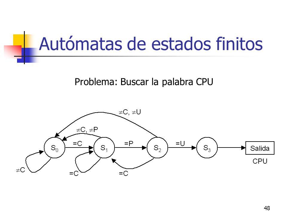 48 Autómatas de estados finitos Problema: Buscar la palabra CPU