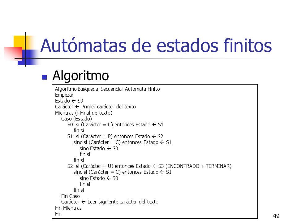 49 Autómatas de estados finitos Algoritmo Algoritmo Busqueda Secuencial Autómata Finito Empezar Estado S0 Carácter Primer carácter del texto Mientras
