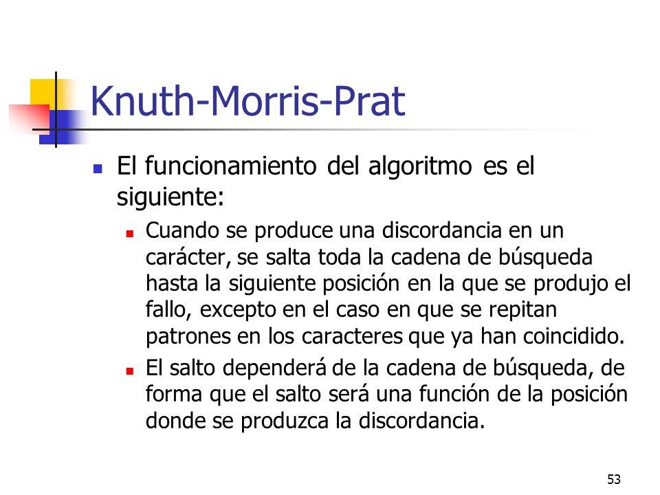 53 Knuth-Morris-Prat El funcionamiento del algoritmo es el siguiente: Cuando se produce una discordancia en un carácter, se salta toda la cadena de bú