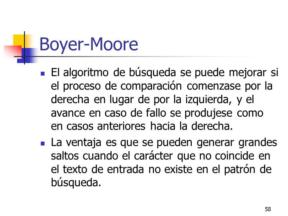 58 Boyer-Moore El algoritmo de búsqueda se puede mejorar si el proceso de comparación comenzase por la derecha en lugar de por la izquierda, y el avan