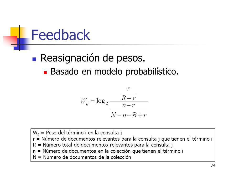 74 Feedback Reasignación de pesos. Basado en modelo probabilístico. W ij = Peso del término i en la consulta j r = Número de documentos relevantes par
