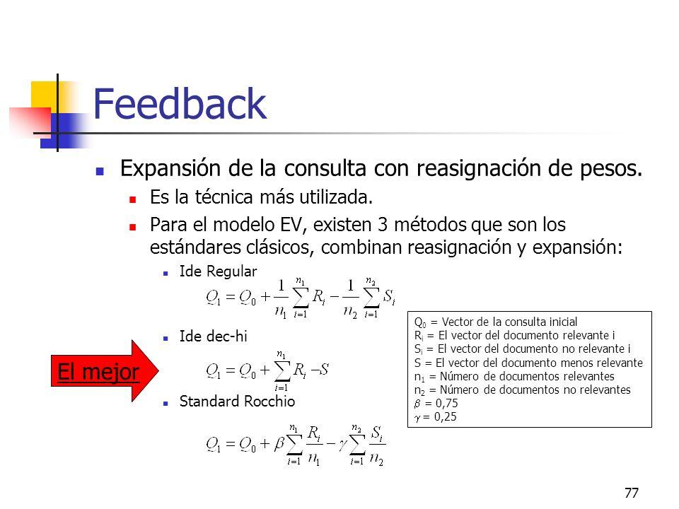 77 Feedback Expansión de la consulta con reasignación de pesos. Es la técnica más utilizada. Para el modelo EV, existen 3 métodos que son los estándar