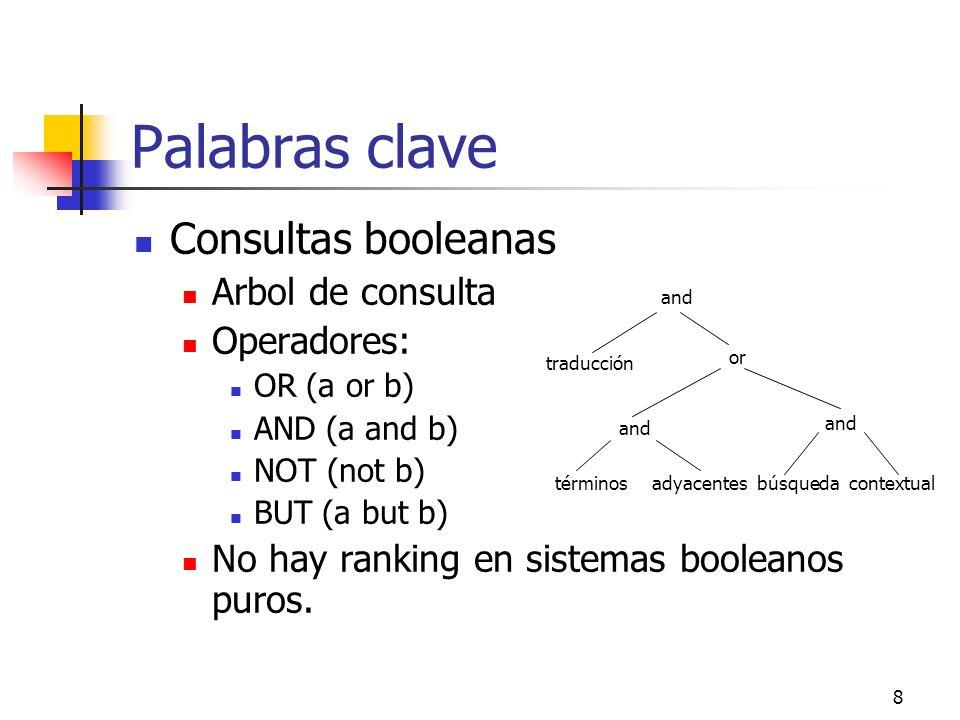 8 Palabras clave Consultas booleanas Arbol de consulta Operadores: OR (a or b) AND (a and b) NOT (not b) BUT (a but b) No hay ranking en sistemas bool