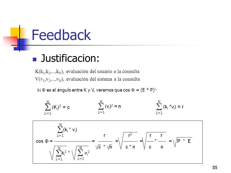 85 Feedback Justificacion: K(k 1,k 2,...,k N ), evaluación del usuario a la consulta V(v 1,v 2,...,v N ), evaluación del sistema a la consulta Si es e