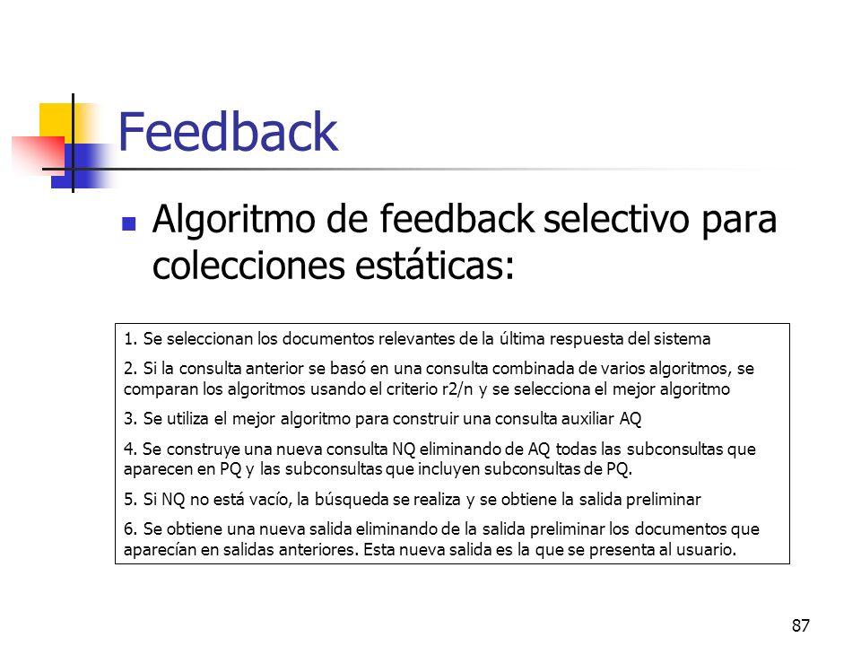 87 Feedback Algoritmo de feedback selectivo para colecciones estáticas: 1. Se seleccionan los documentos relevantes de la última respuesta del sistema