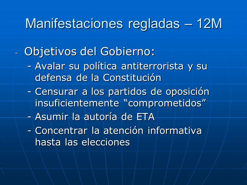 Manifestaciones regladas – 12M - Objetivos del Gobierno: -Avalar su política antiterrorista y su defensa de la Constitución -Censurar a los partidos d