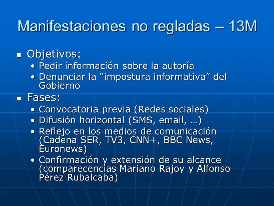 Manifestaciones no regladas – 13M Objetivos: Objetivos: Pedir información sobre la autoríaPedir información sobre la autoría Denunciar la impostura in
