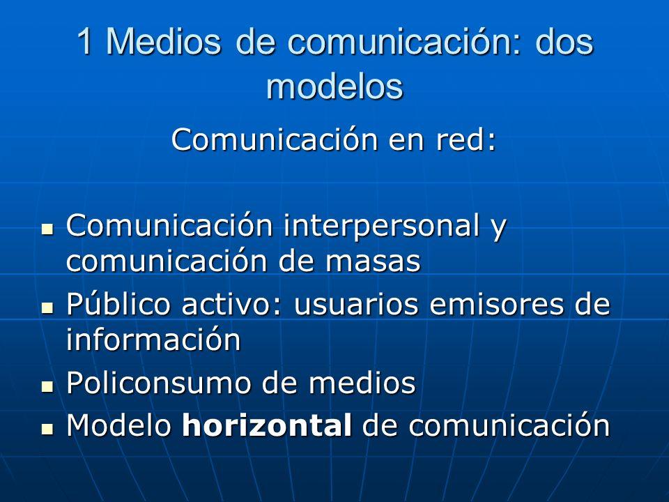 1 Medios de comunicación: dos modelos Comunicación en red: Comunicación interpersonal y comunicación de masas Comunicación interpersonal y comunicació