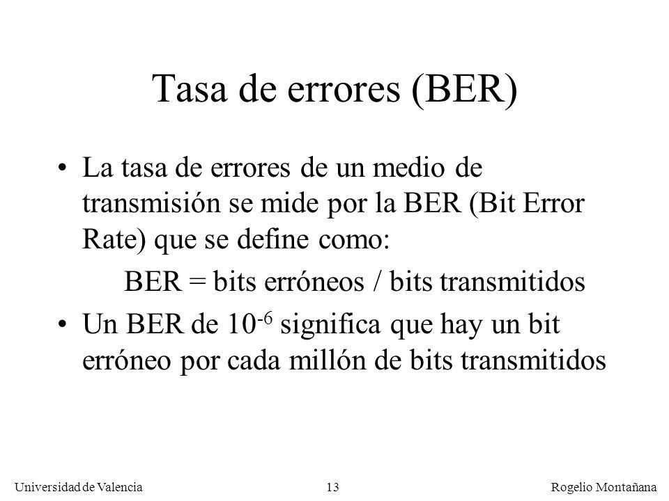 13 Universidad de Valencia Rogelio Montañana Tasa de errores (BER) La tasa de errores de un medio de transmisión se mide por la BER (Bit Error Rate) q