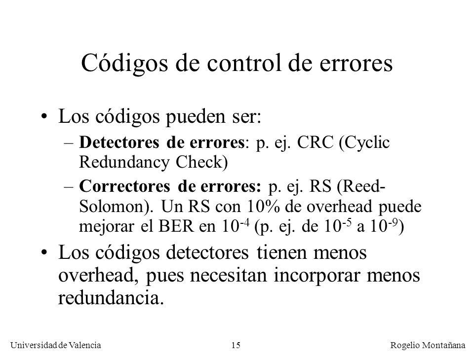 15 Universidad de Valencia Rogelio Montañana Códigos de control de errores Los códigos pueden ser: –Detectores de errores: p. ej. CRC (Cyclic Redundan