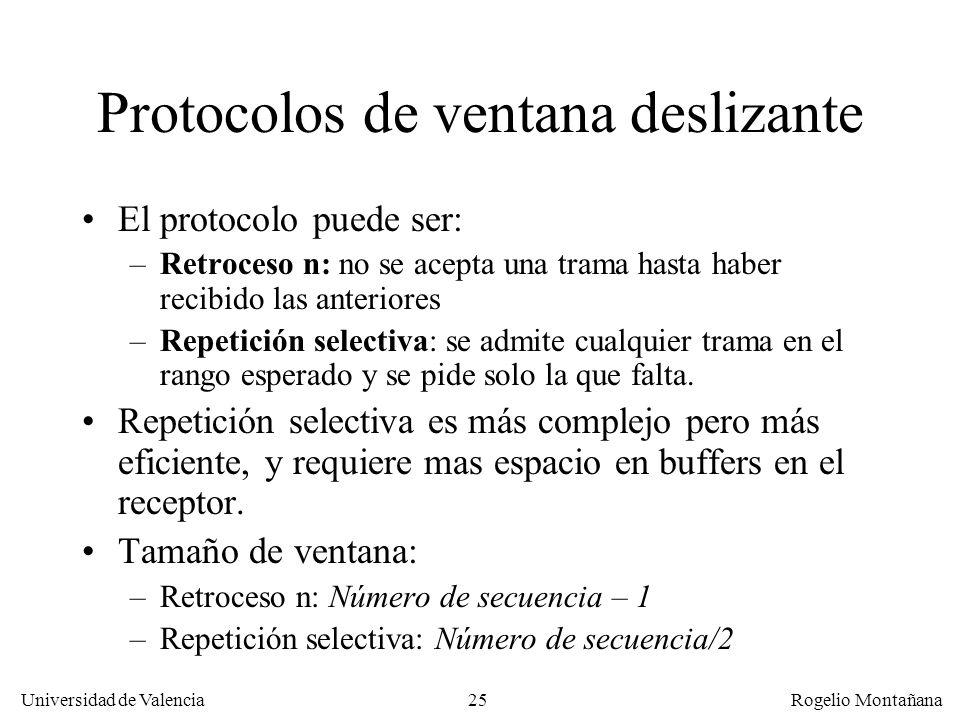 25 Universidad de Valencia Rogelio Montañana Protocolos de ventana deslizante El protocolo puede ser: –Retroceso n: no se acepta una trama hasta haber