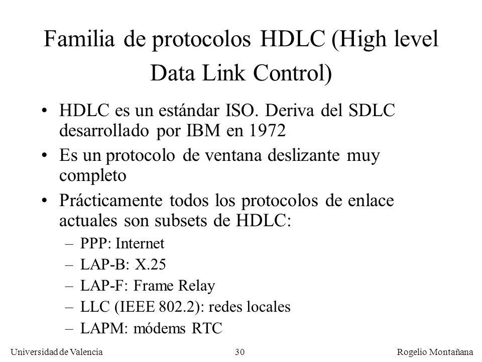 30 Universidad de Valencia Rogelio Montañana Familia de protocolos HDLC (High level Data Link Control) HDLC es un estándar ISO. Deriva del SDLC desarr